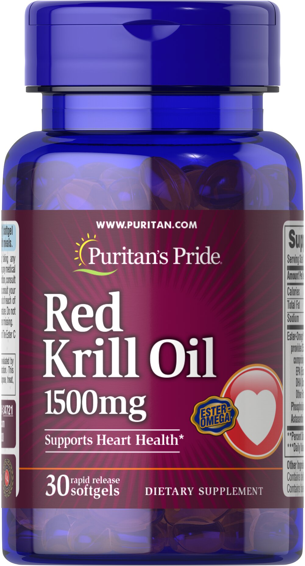 "Maximum Strength Red Krill Oil 1500 mg <p><b>With Naturally Occurring Astaxanthin</b></p> <p>Supports a healthy heart.**</p><p>Provides you with Omega-3 fatty acids — the ""good"" fats important for cellular and metabolic health.**</p></p><p>Rapid Release softgels facilitate quick absorption.**</p> 30 Softgels 1500 mg $32.99"