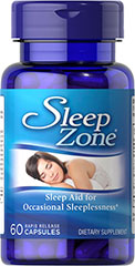 Sleep Zone® <p>A sleep aid for anyone experiencing occasional sleeplessness** Sleep Zone® features Melatonin to nutritionally support sound sleep** Melatonin promotes restful sleep, so you can awaken feeling refreshed and revitalized** Sleep Zone® includes L-Theanine, a non-essential amino acid that can be absorbed across the brain Also contains the herbs Valerian and Passion Flower.<br /></p><p></p> 60 Capsules  $11.99