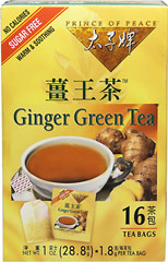 Ginger Green Tea <strong></strong><p><strong>From the Manufacturer:</strong></p><p>Prince of Peace® brings you all the benefits of Ginger and Green Tea in our special proprietary blend of Ginger Green Tea.  Our tea has an appealing aroma and exquisitely smooth taste.  You'll love this natural sweet and spicy flavor!</p> 16 Tea Bags  $5.84