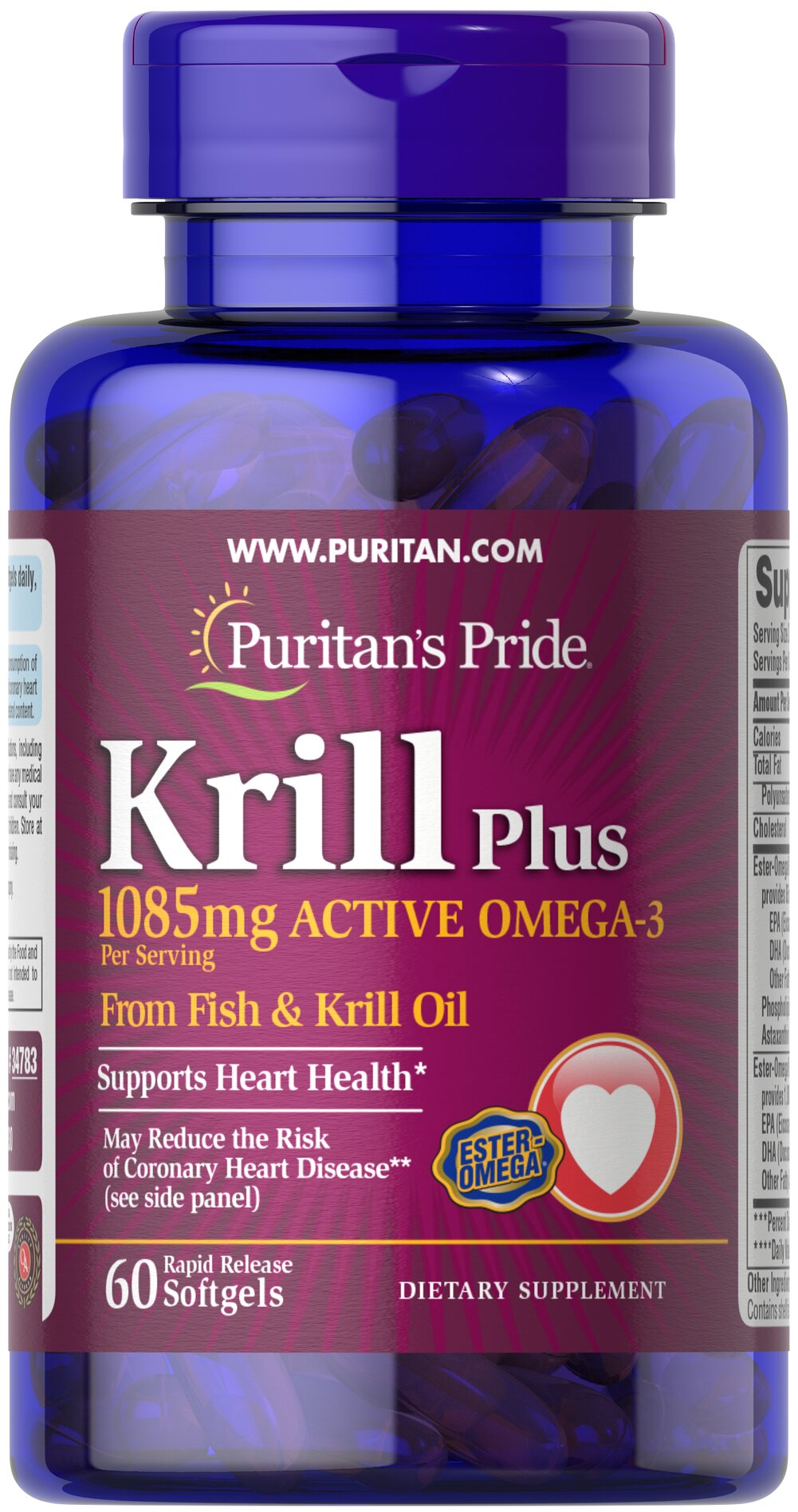 "Krill Oil Plus High Omega-3 Concentrate 1085 mg <p><strong>With Naturally Occurring Astaxanthin</strong></p><p>Supports a healthy heart.**</p><p>Provides you with Omega-3 fatty acids — the ""good"" fats important for cellular and metabolic health.**</p><p>EPA and DHA are well known for its healthy heart support and their impact on joint comfort and flexibility.**</p><p>Rapid Release softgels facilitate quick absorption.**</p>"