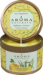 Ambiance Orange & Lemongrass Soy Candle <p>Aromatherapy Soy Vegepure candles are an eco-friendly blend of food grade soy and vegetables waxes with 100% essential oils. They are renewable, sustainable and melt clean and cool.</p><p><b>Ambiance - Orange  & Lemongrass Small Tin</b></p><p>A revitalizing blend of sweet, radiant Orange is combined with refreshing, energetic Lemongrass</p><p>Approximately 15 hour burn time.</p> 1 Each