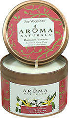 Romance Jasmine & Ylang Ylang Soy Candle Aromatherapy Soy Vegepure candles are an eco-friendly blend of food grade soy and vegetables waxes with 100% essential oils. They are renewable, sustainable and melt clean and cool.<p></p><p><strong>Romance - Ylang Ylang and Jasmine Small Tin</strong></p><p>The powerful aroma of luxurious Jasmine combined with euphoric Ylang Ylang are blended to enhance a romantic atmosphere.</p><p>Approximately 15