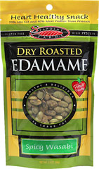 Dry Roasted Edamame Wasabi <p><strong>From the Manufacturer:</strong></p><p><strong></strong>These heart-healthy, dry roasted edamame have a hot wasabi blast. From Seapoint Farms, these low calorie snacks are wheat and gluten free. A spicy hot treat to snack well.</p><ul><li>Gluten-Free</li></ul> 3.5 oz Bag  $4.99
