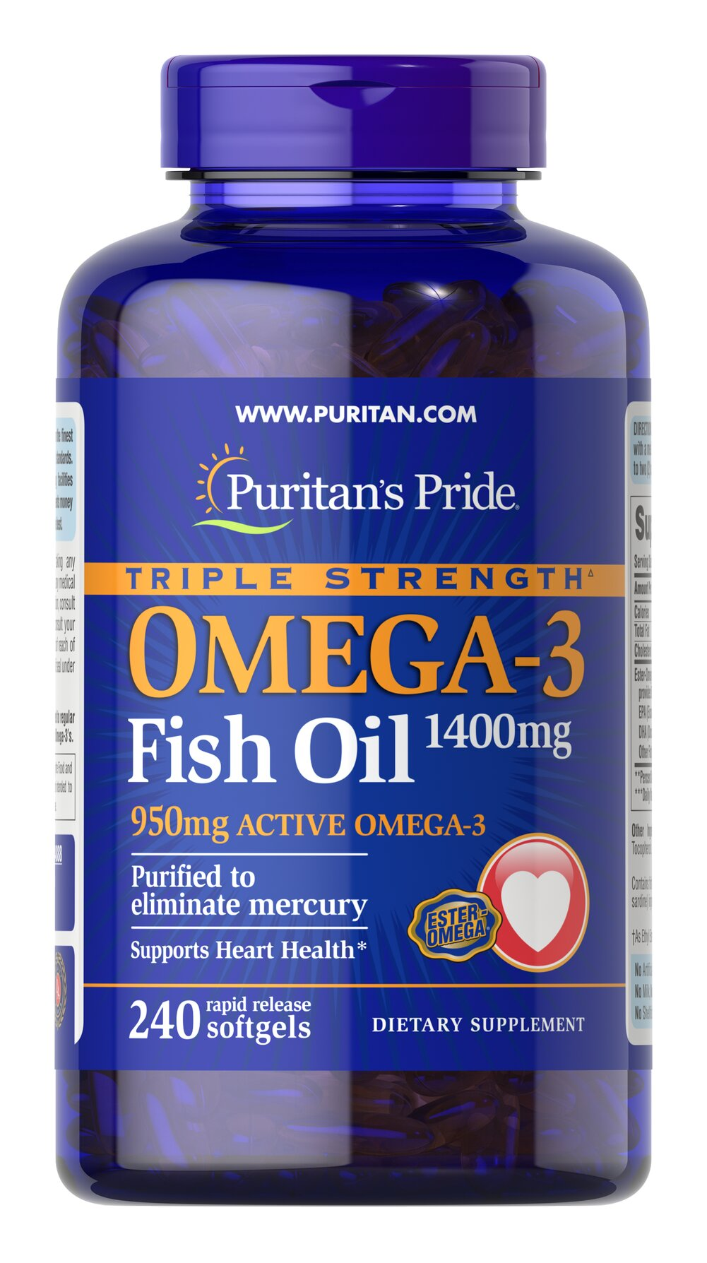 Triple Strength Omega-3 Fish Oil 1360 mg <p><strong>Purified to Eliminate Mercury</strong></p><p>Contains 950 mg of active Omega-3 per softgel — our highest potency! </p> 240 Softgels 1360 mg $74.99