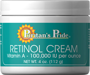 Retinol Cream (Vitamin A 100,000 IU Per Ounce) <p>Delivers <strong>100,000 IU of Vitamin A</strong> per ounce</p><p>Apply to your face and enjoy <strong>smooth, hydrated skin</strong></p><p><strong>Replenishes and nourishes</strong> your skin</p><p>Retinol Cream provides you with the nourishing benefits of Vitamin A along with natural protective moisturizers help to keep your skin soft, smooth and young looking.</p&