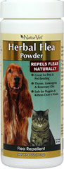 Herbal Flea Powder <p><b>From the Manufacturer's Label: </p></b><p>NaturVet's Herbal Flea Powder can be used directly on dogs, cats puppies and kittens over the age of six weeks, or can be used on any type of pet bedding, such as pillows, foam beds, and blankets.  The unique natural combination of Rosemary and Cedar Oil repels fleas and ticks while deodorizing.  Herbal Flea Powder will leave your pet, or your pet's bed, with a fresh and pleasant fragrance.</p