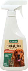 Herbal Flea Spray <p><strong>From the Manufacturer's Label: </strong></p><p>NaturVet's Herbal Flea Spray is a natural combination of Rosemary and Cedar Oil which helps to repel fleas and flies while deodorizing with a fresh herbal fragrance. Herbal Flea Spray can be used on pets and pet bedding. Pet Bedding: Herbal Flea Spray can also be used on pet's bedding, such as pillows, foam beds, and blankets. This product is designed to be non-staining. However, we reco