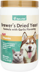 Brewers Yeast Powder for Dogs & Cats <p><strong>From the Manufacturer's Label: </strong></p><p>NaturVet's Brewer's Dried Yeast Formula with Garlic is an excellent source of B-Complex vitamins and fortified with B-1, B-2, and niacin with Vitamin C (Antioxidant). </p><ul><li>Made in the USA</li></ul> 1 lb Powder  $12.59