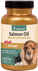 Salmon Oil Gel Caps for Dogs & Cats <p><b>From the Manufacturer's Label: </p></b><p>More potency without the smell.  Our specialized filtration process helps remove the fishy smell, but not the yummy taste that pets love.  Promotes healthy skin, shiny coat and helps retain moisture in dry, irritated skin.</p> 60 Oil  $18.99