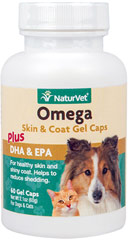 Omega Gel Caps for Dogs & Cats <p><strong>From the Manufacturer's Label: </strong></p><p>Omega Gel Caps are recommended to help maintain healthy skin and a glossy coat.  A concentrated source of EPA and DHA fatty acids help to achieve a soft, silky, shiny and healthy coat and maintain normal moisture content of skin.</p> 60 Gel Caps  $16.99