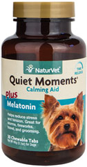 Quiet Moments Calming Tablets for Dogs <p><strong>From the Manufacturer's Label: </strong></p><p>Recommended to help support the nervous system in reducing stress and tension.  Also recommended for dogs when traveling by car, plane or boat. Use for thunderstorms and even grooming.<br /></p><ul><li>Made in the USA</li></ul> 30 Chewables  $9.99