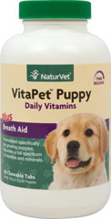 Vita Pet Puppy <p><b>From the Manufacturer's Label: </p></b><p>Formulated specifically for puppies!  Veterinarian recommended and scientifically formulated to provide growing and active puppies with essential vitamins, minerals, amino acids and fatty acids.</p><p>Chewable Tablets that taste Like a Treat!</p> 60 Chewables  $14.99