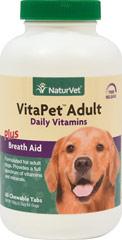 Vita Pet Adult <p><b>From the Manufacturer's Label: </p></b><p>Formulated specifically for adult dogs!  Veterinarian recommended and scientifically formulated to supply dogs with essential vitamins, minerals and nutrients that may be missing in their daily diet.</p><p>Chewable Tablets that tastes Like a Treat!</p> 60 Chewables  $14.99