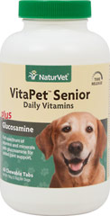 Vita Pet Senior with Glucosamine <p><b>From the Manufacturer's Label: </p></b><p>VitaPet Senior is a stress formula especially for the older, lactating, pregnant, or more active dog.  Veterinarian recommended and scientifically formulated to supply dogs with essential vitamins, minerals and nutrients that may be missing in their daily diet. Contains Glucosamine for added joint support.</p><p>Chewable Tablets that tastes Like a Treat!</p> 60 Che