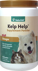 Kelp Help <p><b>From the Manufacturer's Label: </p></b><p>Contains over 60 essential trace minerals, vitamins and amino acids, many of which are missing from your pet's diet.  Formulated with only the highest quality Norwegian Kelp, which is one of the richest sources of trace minerals in the world.  Trace minerals are ESSENTIAL for proper food digestion and vitamin utilization.</p> <p>Kelp Help combines the benefits of natural Omega 3, 6 and 9 Fatty