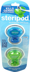 Steripod™ Toothbrush Sterilizer 2-Pack <p>Clinically proven to KILL BACTERIA** on your toothbrush</p><p>Clip-On Steripod™ between each brushing to KILL BACTERIA** for up to 3 months</p><p>Works on Regular & Electric Brushes Too!</p><p>Use with all Brushes Including:</p><p>- Oral-B</p><p>- Crest</p><p>- Sonicare</p><p>- Colgate</p><p>Each Pod Lasts 3 months</p><p>Manufactured
