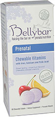 Bellybar® Prenatal Chewable Multivitamins <b><p> From the Manufacturer's Label:</b></p> <p> With Iron and Calcium</p> <p> Mixed fruit flavor</p> <p>Bellybar Prenatal Chewable Vitamins are a complete prenatal multivitamin.</p> <p> A great-tasting alternative to large pills, just two tasty wafers give you the vitamins and minerals you and your baby need. </p> <p> Distributed by NutraBella, Inc.</p> **These