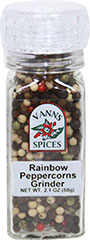 Rainbow Peppercorns Grinder <b><p> From the Manufacturer:</b></p><p>Rainbow pepper has long been used in French haute cuisine.  Every pepper used is there for a purpose; some because they're more aromatic, some more flavorful, mellower, or hotter.</p> 2 oz Grinder  $10.99