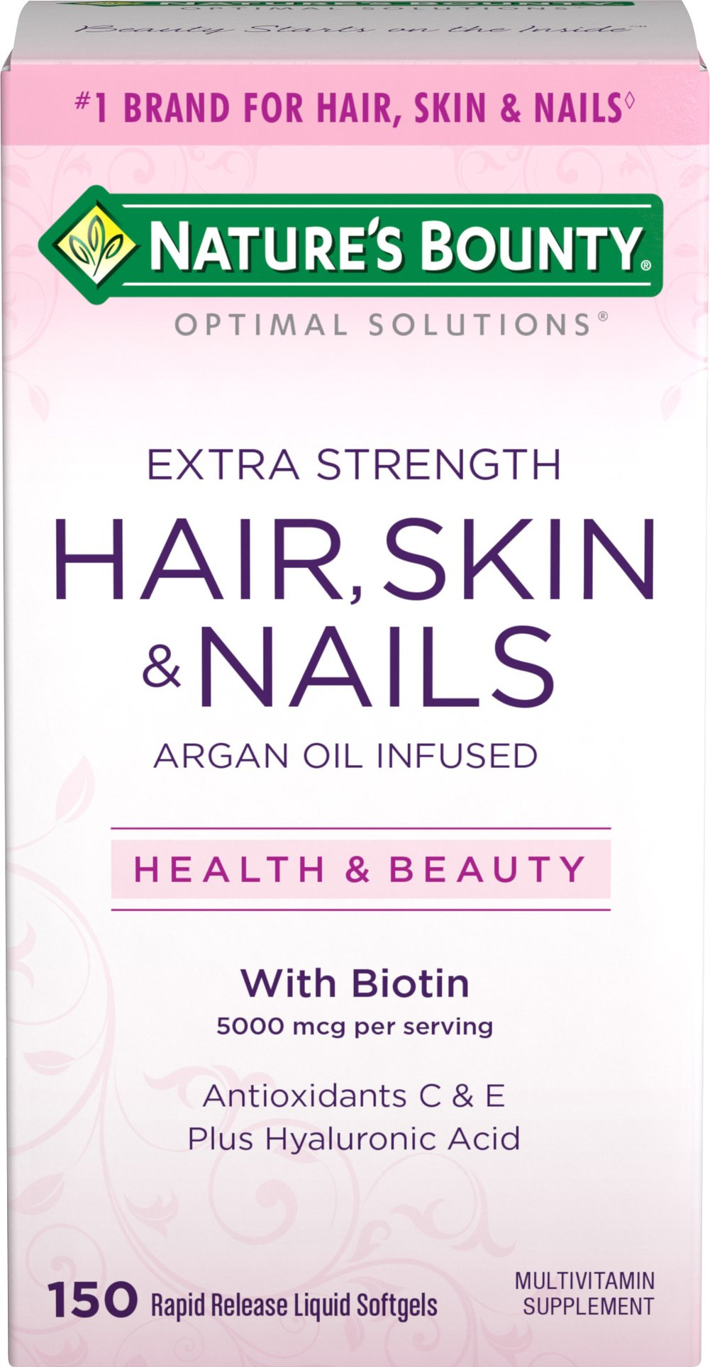 Hair, Skin and Nails Extra Strength with Argan Oil <p><strong>From the Manufacturer's Label:</strong></p><p>Being healthy is always beautiful. With Nature's Bounty Optimal Solutions Extra Strength Hair, Skin and Nails formula with Argan Oil, you'll look and feel great!</p><p>It contains just the right balance of nutrients to support lustrous hair, healthy nails, and vibrant skin.* This innovative formula provides you with the vital nutrients