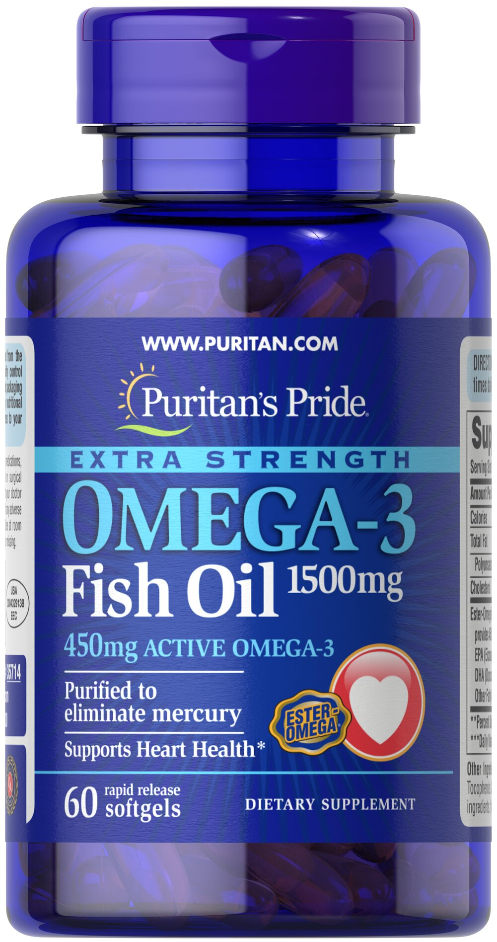 Extra Strength Omega-3 Fish Oil 1500 mg (450 mg Active Omega-3) <p><strong>Purified to Eliminate Mercury</strong></p><p>Super Potency 1500 mg  in one softgel!</p><p>Contains 450 mg of active Omega-3 per softgel.</p><p>Features fish oil in rapid-release softgels with enhanced potency and superior absorption.**</p> 60 Softgels 1500 mg $11.51