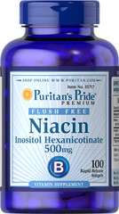 Flush Free Niacin 500 mg Inositol Hexanicotinate Supports heart and cardiovascular wellness**  Promotes healthy circulation**  Contributes to energy metabolism**  Helps metabolize carbohydrates and protein**  Laboratory Tested   100 Softgels 100 mg $8.99