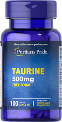 Taurine 500 mg <p>Natural Amino Acids - Found in high concentrations in the heart, Taurine is a building block of all other amino acids as well as a key component of bile.  Available in (500 mg) caplets</p> 100 Caplets 500 mg $11.29