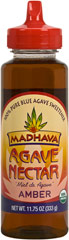 Organic Amber Agave Nectar <p><strong>From the Manufacturer's Label: </strong></p><p>This Organic Amber Agave Nectar from Madhava has a subtle maple-like flavor making it a delicious addition to entrees, sauces, roasted meat, and many other dishes. A great substitute for brown sugar, maple syrup, or molasses!<br /></p> 11.75 oz Bottle  $11.49