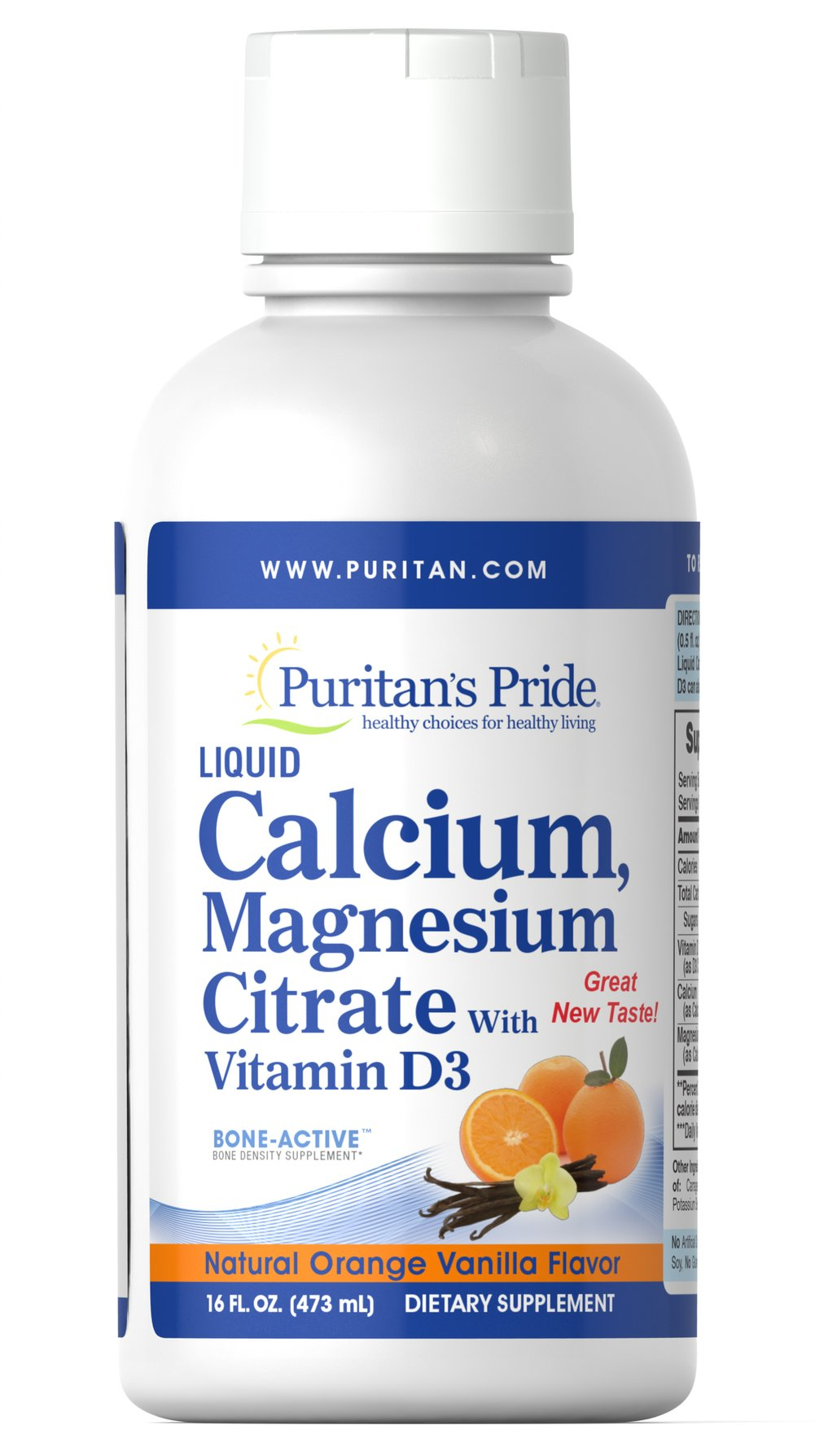 Liquid Calcium Magnesium with Vitamin D3 Orange Vanilla  16 oz Liquid