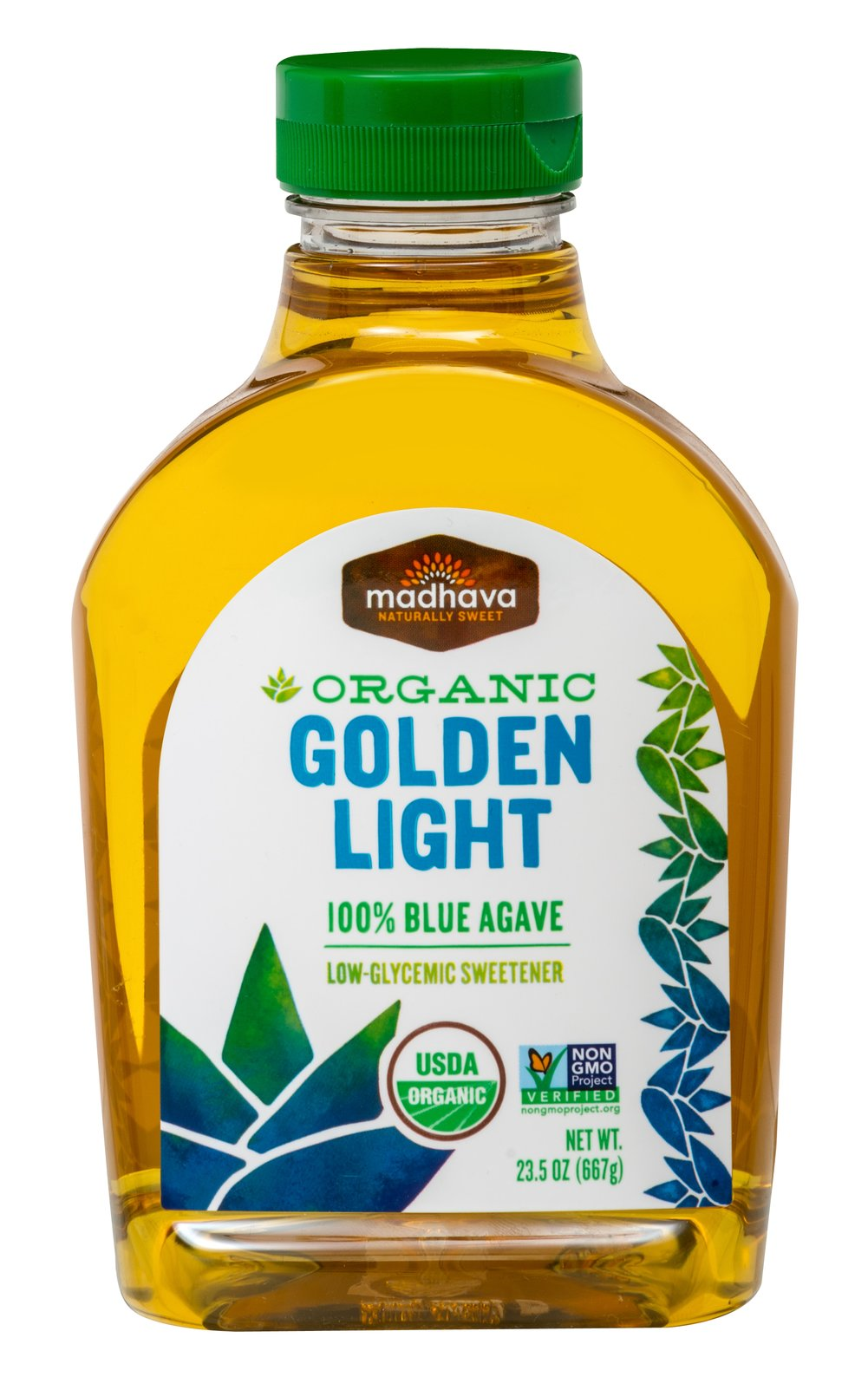 Organic Light Agave Nectar <p><strong>From the Manufacturer's Label: </strong></p><p>This Organic Light Agave Nectar from Madhava is a great sugar replacement made from the juice of the Weber Blue Agave plant. Has a mild and pleasant taste, add sweetness without flavor making it ideal for hot and cold beverages, baking, and desserts!<br /></p> 23.5 oz Bottle  $13.99