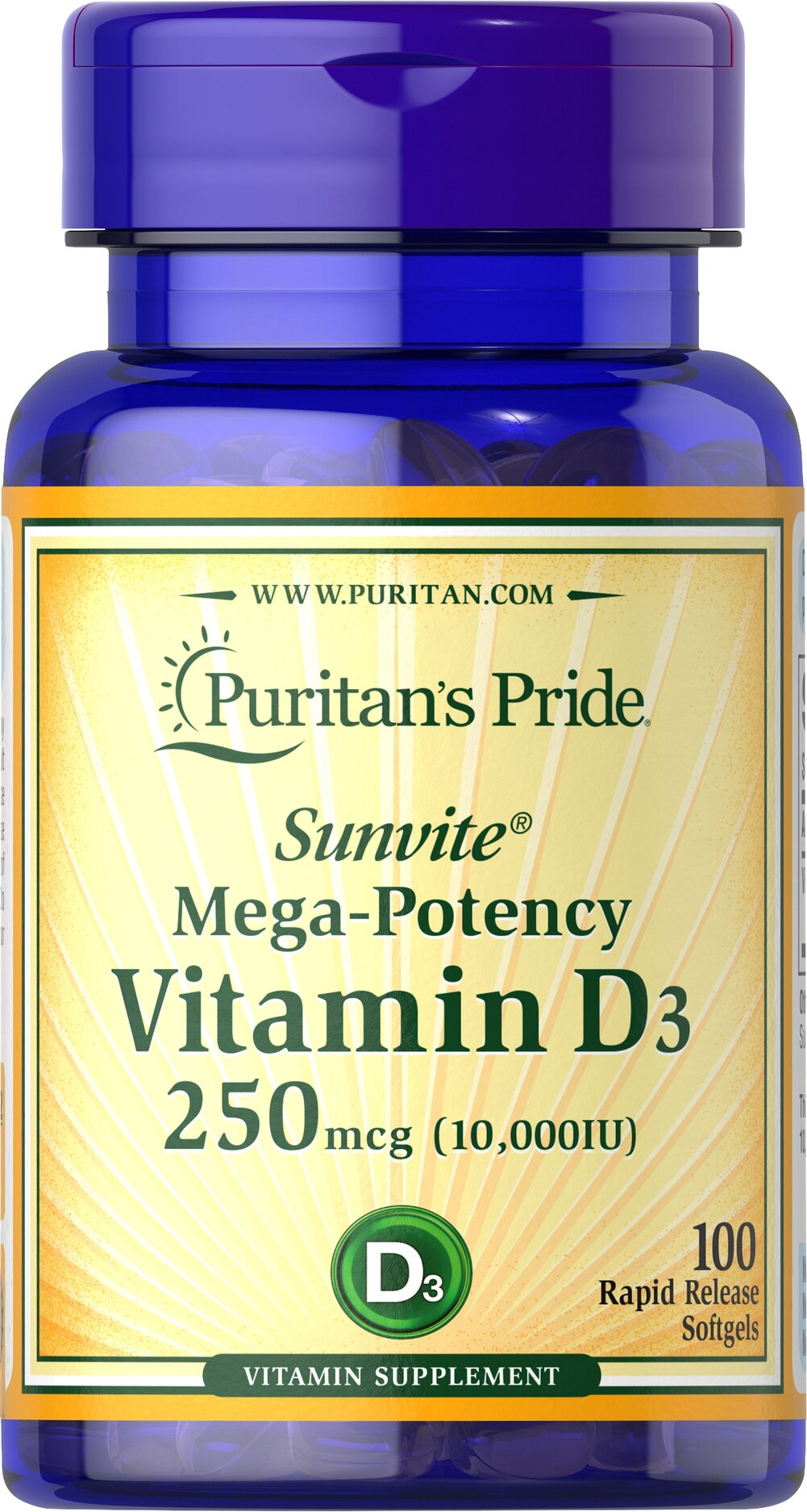 Vitamin D3 10,000 IU <p>This new formula packs 10,000 IUs of Vitamin D. Vitamin D is known as essential when it comes to building strong teeth and bones.**</p><ul><li>Vitamin D3 is a more potent and bioavailable form compared to D2.</li><li>Assists the body with calcium absorption.** </li><li>Bolsters the immune system.**  </li><li>Strengthens breast, colon and pancreas health.** </li></ul> 100 Softgels 10000 IU $18.49