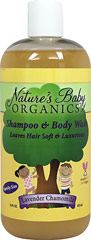 Baby Shampoo & Body Wash Lavender Chamomile <p><strong>From the Manufacturer:</strong></p><p><strong>Organic Aloe, Organic Comfrey, Organic Calendula and Organic Chamomile</strong></p><p>Made with the highest quality botanicals, essential oils, and luxurious moisturizers (shea butter and kukui nut oil) to pamper your baby's tender hair and skin without drying.</p><p>Manufactured by  Nature's Baby™ Organics.</p> 1