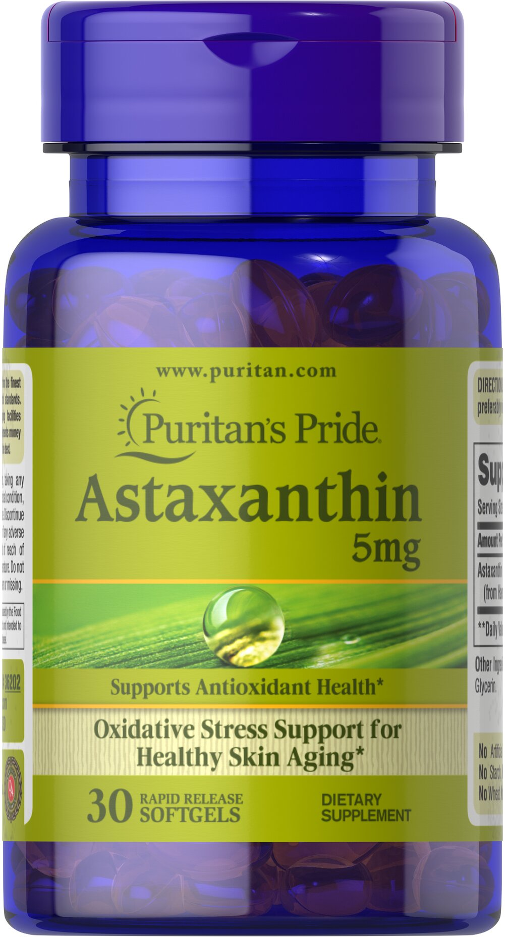 Natural Astaxanthin 5 mg <p>Astaxanthin promotes antioxidant health, which helps fight the cell damaging free radicals that can lead to oxidative stress which may contribute to the premature aging of cells.**</p><p></p><p></p> 30 Softgels 5 mg $22.99