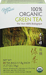 Organic Green Tea <strong></strong><p><strong>From the Manufacturer:</strong></p>This 100% Organic Green Tea is freshly harvested; the leaves are then gently washed, steamed, rolled and dried to retain their delicate flavor and aroma. Brew up and enjoy a cup of good green tea!<br /> 20 Tea Bags  $4.29