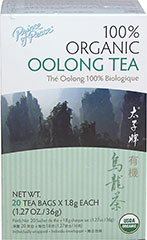 Organic Oolong Tea <strong></strong><p><strong>From the Manufacturer:</strong></p><p>Oolong is semi-fermented, combining the best qualities of black and green teas.  Prince of Peace® Oolong Tea is completely hand picked, delightfully aromatic with a mild flavor and bright golden color. Brew yourself up a cup and enjoy the rich taste of this tea as well as a cupful of Oolong tea's benefits.</p> 20 Tea Bags  $4.99