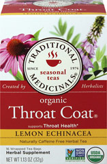 Organic Throat Coat® Lemon Echinacea Tea <p><strong>From the Manufacturer:</strong></p><p>Caffeine Free Herbal Tea<br /></p><p>Organic Lemon Echinacea Throat Coat® is a complex and aromatic blend of herbal tastes - sweet, lemony, and viscous with a characteristic tingle on your tongue from the echinacea. Enjoy the delicious blend of this comforting tea.<br /></p> 16 Tea Bags  $9.99