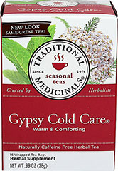 Gypsy Cold Care® Tea <p><strong>From the Manufacturer</strong></p><p>Made with Organic Elder</p><p>Caffeine Free</p><p>Gypsy Cold Care® is a complex and aromatic blend of herbal tastes-pungent, slightly bitter, minty and sweet.</p><p>We use pharmacopoeial grade herbs in this tea.  That means that these herbs meet the highest standards set for quality, purity, strength, identity and composition.  While it is accepted to u