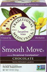 Smooth Move Chocolate Tea <p><strong>From the Manufacturer:</strong></p><p>Made with Organic Senna Leaf</p>Taste is chocolaty, pleasantly roasted and nutty. Relieves occasional constipation**. Best taken at bedtime. Sip and sleep easy knowing you'll be right as rain in the morning.<br /> 16 Tea Bags  $9.99
