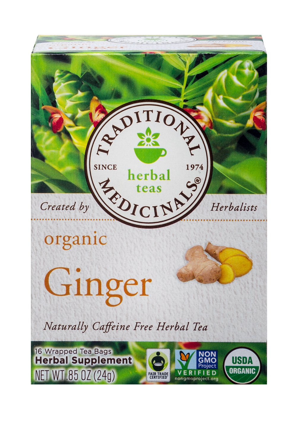 Organic Ginger Tea <p><strong>From the Manufacturer:</strong></p> <p>Caffeine Free Herbal Tea<br /></p><p>How does it taste?  Agreeably pungent and spicy. That's gingers' reputation. This Organic Ginger tea is a bit milder than you might expect. You will love the warming spicy taste of this tea.<br /></p> 16 Tea Bags  $3.99