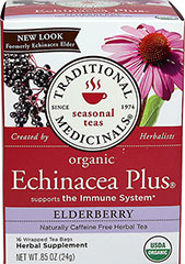 Organic Echinacea Elderberry Tea <p><strong>From the Manufacturer's Label:<br /></strong></p> <p>Caffeine Free</p><p>Organic Echinacea Elderberry tea is a blend of sweet, fruity and slightly bitter herbal tastes with a characteristic tingle on your tongue caused by the alkylamides in echinacea, which is one of the important indicators of quality.</p> 16 Tea Bags  $3.99