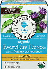 Organic Everyday Detox LemonTea <p><strong>From the Manufacturer:</strong></p><p>Caffeine Free Lemon Herbal Tea<br /></p><p>Organic Lemon EveryDay Detox tea is an herbal tea that uses herbal teas made from burdock, stinging nettle and cleavers herb.  Tastes slightly bitter and slightly sweet, balanced with pleasantly aromatic citrus from lemon myrtle. <br /></p> 16 Tea Bags  $9.99