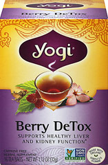 Berry Detox Tea <p><strong>From the Manufacturer's Label:</strong></p><p><strong>Revitalize with Berry DeTox</strong></p><p>Yogi's blend of herbs and fruity antioxidants is formulated to support the body.  Traditional Chinese herb Rhubarb Root joins Yellow Dock. Organic Hibiscus infuses tangy notes, and Acai Berry imparts a fruity flavor. Enjoy this delicious tea as a part of a lifestyle worth living.<br /></p> 16 Tea Bags