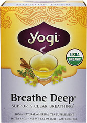 Organic Breathe Deep® Tea <p><strong>From the Manufacturer's Label:</strong></p><p>Yogi's all organic formulation is a blend of herbs used in many herbal  traditions. Thyme and warming, aromatic Eucalyptus are in this blend.  Licorice adds a light naturally sweet flavor.  Enjoy this tea plain or sweetened with a little honey. Experience a delightful cup of tea. </p> 16 Tea Bags  $8.99
