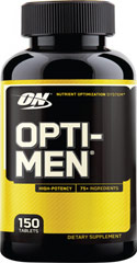 Opti-Men™ <p><strong>From the Manufacturer's Label:</strong></p><ul><li>Nutrient Optimazation System**</li><li>High Potency</li><li>75+ ingredients </li></ul><p>Manufactured by Optimum Nutrition</p><p></p> 150 Tablets  $36.39