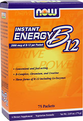 Vitamin B-12 2000 mcg Instant Energy Packets <p><strong>From the Manufacturer's Label:</strong></p><ul><li> Convenient and fast-acting</li><li>B-Complex, Chromium, and Creatine</li><li>Three forms of B-12 including Co-Enzymes</li><li>An instant source of on-the-go energy support** <br /></li></ul><p>Who needs NOW® B-12 Instant Energy</p><ul><li>Busy professionals an