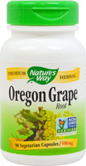 Oregon Grape Root 475 mg <p><strong>From the Manufacturer's Label:</strong></p><p>Oregon Grape (Mahonia aquifolium) is also known as Holly Mountain Grape or Creeping Barberry.  Its root contains the alkaline Berberine used during the winter season.</p><p>Manufactured by Nature's Way.</p> 90 Capsules 475 mg $4.99