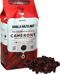 Vanilla Hazelnut Whole Bean Coffee <strong></strong><p><strong>From the Manufacturer:</strong></p><p>No more choosing between vanilla and hazelnut coffee…this Vanilla Hazelnut combines these two popular flavorings into one unforgettable cup! Famous for its combination of smooth, rich vanilla and earthy, lively hazelnut, Vanilla Hazelnut is a favorite blend among many. Arabica beans are carefully selected, precisely blended and roasted in small batches, a