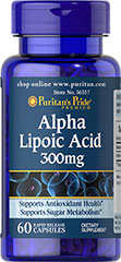 "Alpha Lipoic Acid 300 mg <p>Alpha Lipoic Acid (ALA) helps metabolize sugar, especially in muscles, where it promotes energy.**</p><p>ALA is also beneficial for liver health, and helps to revitalize the underlying structure of the skin so it can look healthier and more radiant.**</p><p> ALA is often called the ""universal antioxidant"" for its ability to help neutralize cell-damaging free radicals.** </p> 60 Capsules 300 mg $11.99"