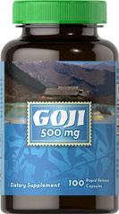 GOJI 500 mg <p>Goji is a small red berry indigenous to Asia. It is also known as wolfberry and is similar in texture and size to a raisin. Goji berries are known for being beneficial natural sources of Zeaxanthin, which is a carotenoid naturally found in healthy eyes. In addition, Goji contains many natural polysaccharides, antioxidants and phytonutrients and has been used as a tonic by herbalists.**</p> 100 Capsules 500 mg $5.99