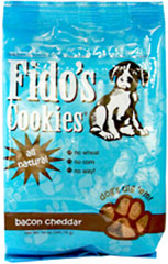 All Natural Bacon Cheddar Treats <p><b>From the Manufacturer's Label:</p></b> <p>Fido's all natural bacon cheddar treats come in a 12oz resealable bag  and are all-natural.  Contains no wheat and no corn products and are made in the USA.</p>  12 oz Bag  $9.99