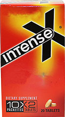 Intense X® <p><b>From the Manufacturer's Label:</b></p> <p>This fast acting formula quickly dissolves in the body releasing an energy-packed blend of potent herbal extracts.  Achieve peak performance to maximize the experience when you want it most.</p> 20 Tablets  $7.99